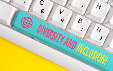 Conceptual hand writing showing Diversity And Inclusion. Concept meaning range huanalysis difference includes race ethnicity gender White pc keyboard with note paper above the white background