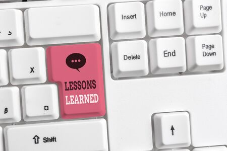 Text sign showing Lessons Learned. Business photo showcasing the knowledge or understanding gained by experience White pc keyboard with empty note paper above white background key copy space