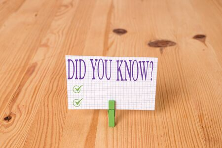 Writing note showing Did You Know Question. Business concept for when you are asking someone if they know fact or event Wooden floor background green clothespin groove slot office