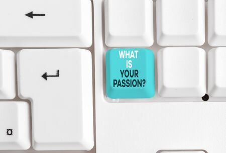Handwriting text What Is Your Passion Question. Conceptual photo asking about his strong and barely controllable emotion White pc keyboard with empty note paper above white background key copy space