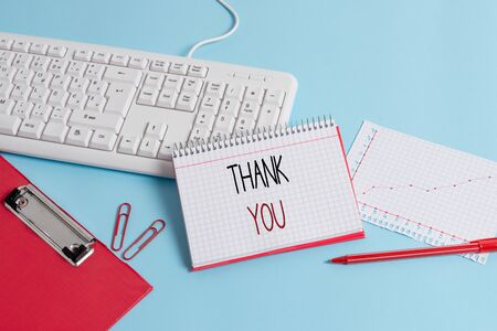 Writing note showing Thank You. Business concept for a polite expression used when acknowledging a gift or service Paper blue keyboard office study notebook chart numbers memo