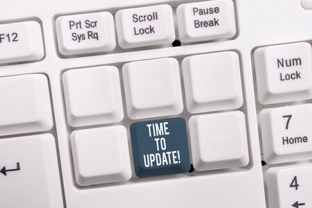 Conceptual hand writing showing Time To Update. Concept meaning this is right moment to make something more modern new White pc keyboard with note paper above the white background