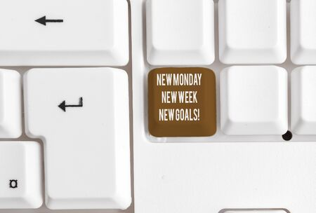 Writing note showing New Monday New Week New Goals. Business concept for goodbye weekend starting fresh goals targets White pc keyboard with note paper above the white background