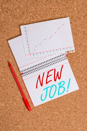 Conceptual hand writing showing New Job. Concept meaning recently having paid position of regular employment Desk notebook paper office paperboard study supplies chart