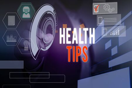 Word writing text Health Tips. Business photo showcasing advice or information given to be helpful in being healthy Male human wear formal work suit presenting presentation using smart device