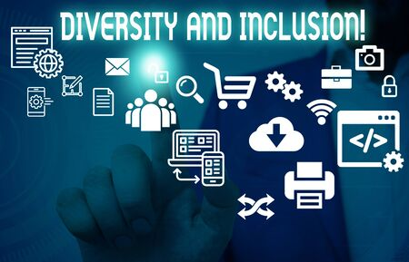 Writing note showing Diversity And Inclusion. Business concept for range huanalysis difference includes race ethnicity gender Male human wear formal suit presenting using smart device