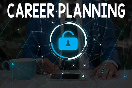 Word writing text Career Planning. Business photo showcasing Strategically plan your career goals and work success Male human wear formal work suit presenting presentation using smart device