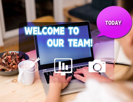 Text sign showing Welcome To Our Team. Business photo showcasing introducing another demonstrating to your team mates woman icons computer speech bubble office supplies technological device Stok Fotoğraf - 129237597