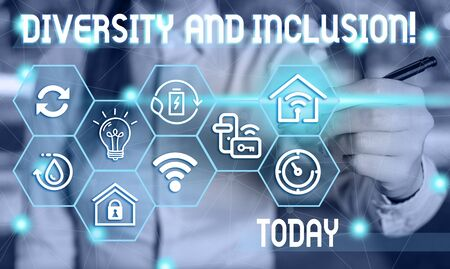 Text sign showing Diversity And Inclusion. Business photo showcasing range huanalysis difference includes race ethnicity gender Female human wear formal work suit presenting presentation use smart device
