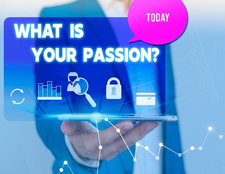 Text sign showing What Is Your Passion Question. Business photo showcasing asking about his strong and barely controllable emotion man icons smartphone speech bubble office supplies technological device