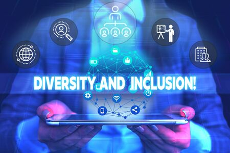 Word writing text Diversity And Inclusion. Business photo showcasing range huanalysis difference includes race ethnicity gender Male human wear formal work suit presenting presentation using smart device