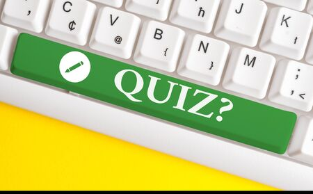 Writing note showing Quiz Question. Business concept for test of knowledge as competition between individuals or teams White pc keyboard with note paper above the white background 写真素材 - 129271234
