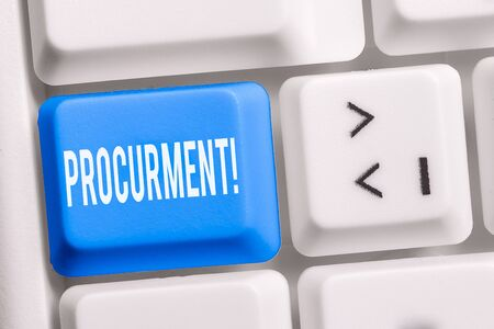 Text sign showing Procurment. Business photo showcasing action of acquiring military equipment and supplies White pc keyboard with empty note paper above white background key copy space
