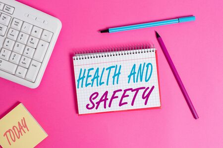 Conceptual hand writing showing Health And Safety question. Concept meaning regulations and procedures intended to prevent accident Writing equipments and computer stuff placed on wooden table