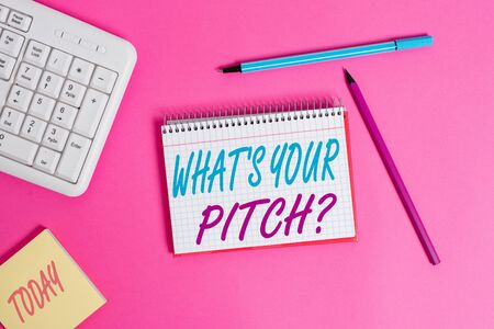 Conceptual hand writing showing What S Is Your Pitch question. Concept meaning asking about property of sound or music tone Writing equipments and computer stuff placed on wooden table Stock Photo - 129272703