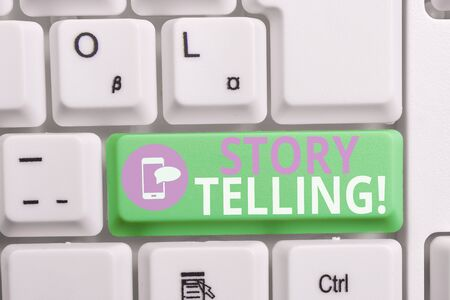 Writing note showing Story Telling. Business concept for activity writing stories for publishing them to public Keyboard with note paper on white background key copy space Banco de Imagens