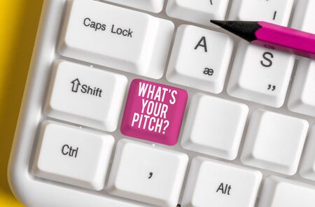 Word writing text What S Is Your Pitch question. Business photo showcasing asking about property of sound or music tone White pc keyboard with empty note paper above white background key copy space Stock Photo - 129286357