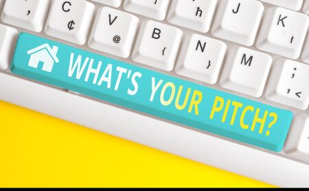 Text sign showing What S Is Your Pitch question. Business photo showcasing asking about property of sound or music tone White pc keyboard with empty note paper above white background key copy space Stock Photo - 129286491