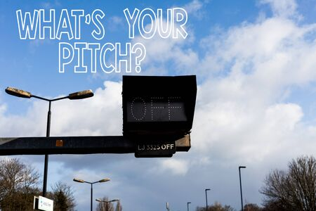 Conceptual hand writing showing What S Is Your Pitch question. Concept meaning asking about property of sound or music tone Front view lamp post with two lamps sunny day sky background