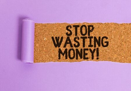 Conceptual hand writing showing Stop Wasting Money. Concept meaning advicing demonstrating or group to start saving and use it wisely Stock fotó - 129312579
