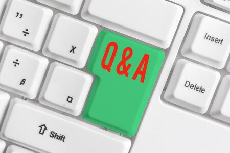 Text sign showing Q And A. Business photo showcasing defined as questions being asked and answers White pc keyboard with empty note paper above white background key copy space