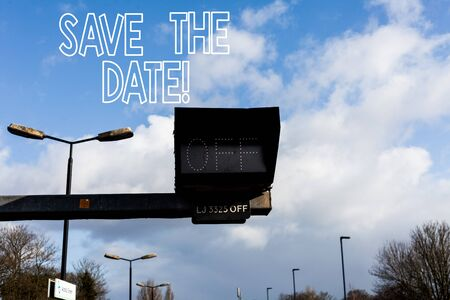 Conceptual hand writing showing Save The Date. Concept meaning Organizing events well make day special event organizers Front view lamp post with two lamps sunny day sky background Stockfoto