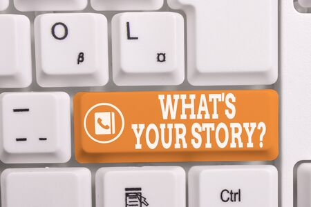 Writing note showing What S Your Story Question. Business concept for asking demonstrating about his past life actions career or events White pc keyboard with note paper above the white background Stock fotó