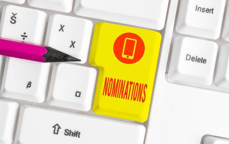 Word writing text Nominations. Business photo showcasing the act of officially suggesting someone for a job or position White pc keyboard with empty note paper above white background key copy space
