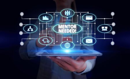 Handwriting text Mentor Needed. Conceptual photo Employee training under senior assigned act as advisor Woman wear formal work suit presenting presentation using smart device