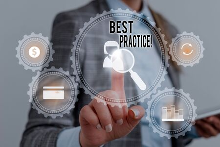 Writing note showing Best Practice. Business concept for commercial procedures that are accepted prescribed being correct Woman wear formal work suit presenting presentation using smart device