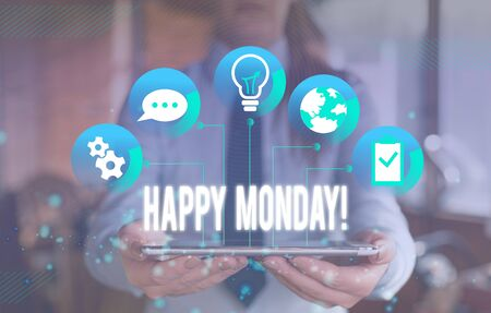 Writing note showing Happy Monday. Business concept for telling that demonstrating order to wish him great new week Female human wear formal work suit presenting smart device
