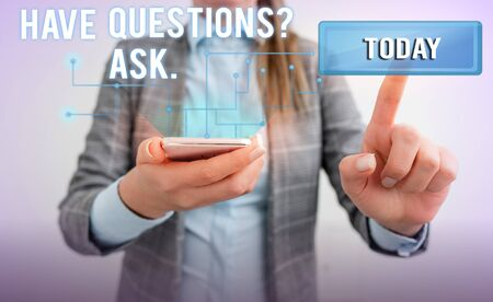 Word writing text Have Questionsquestion Ask. Business photo showcasing something that you say or write to ask a demonstrating Lady front presenting hand blue glow futuristic modern technology tech look