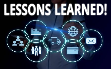 Conceptual hand writing showing Lessons Learned. Concept meaning experiences distilled project that should actively taken Woman wear work suit presenting presentation smart device