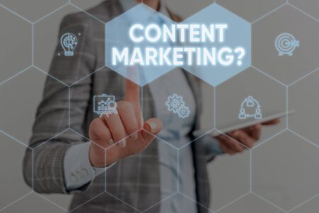 Conceptual hand writing showing Content Marketing question. Concept meaning involves creation and sharing of online material Woman wear work suit presenting presentation smart device