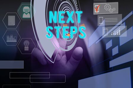 Text sign showing Next Steps. Business photo text something you do or plan after you ve finished something else Male human wear formal work suit presenting presentation using smart device