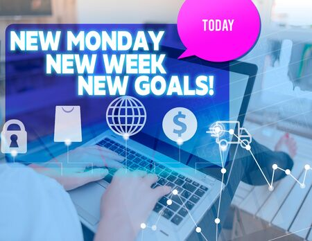 Handwriting text New Monday New Week New Goals. Conceptual photo goodbye weekend starting fresh goals targets woman icons computer speech bubble office supplies technological device