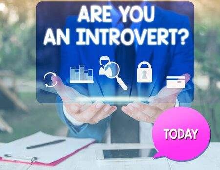 Text sign showing Are You An Introvertquestion. Business photo text demonstrating who tends to turn inward mentally man icons smartphone speech bubble office supplies technological device