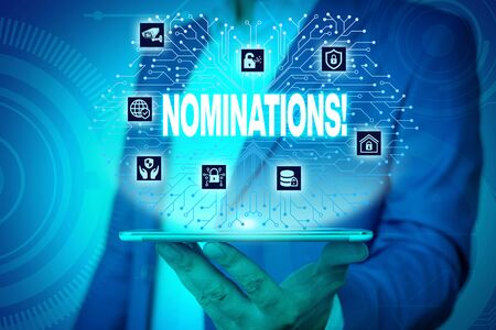 Text sign showing Nominations. Business photo text action of nominating or state being nominated for prize Male human wear formal work suit presenting presentation using smart device