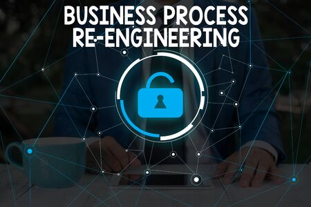 Word writing text Business Process Re Engineering. Business photo showcasing the analysis and design of workflows Male human wear formal work suit presenting presentation using smart device