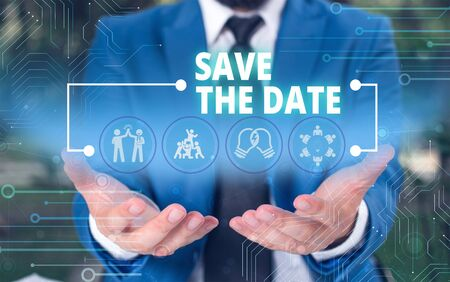 Handwriting text Save The Date question. Conceptual photo asking someone to remember specific day or time Male human wear formal work suit presenting presentation using smart device