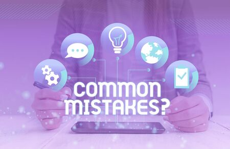 Handwriting text Common Mistakes Question. Conceptual photo repeat act or judgement misguided making something wrong woman icons smartphone computer tablet office supply technological device