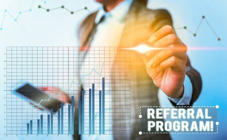 Conceptual hand writing showing Referral Program. Concept meaning internal recruitment method employed by organizations Stockfoto