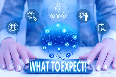 Conceptual hand writing showing What To Expect. Concept meaning asking about regard something as likely to happen occur Female human wear formal work suit presenting smart device