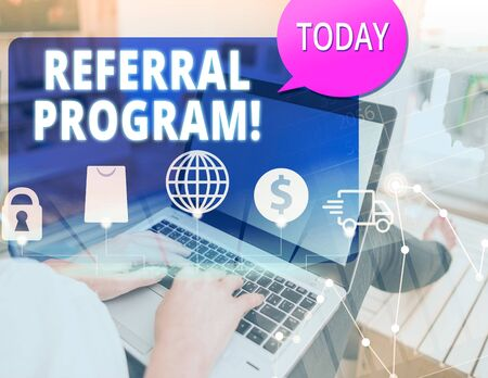 Word writing text Referral Program. Business photo showcasing internal recruitment method employed by organizations