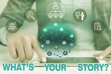 Text sign showing What S Your Story Question. Business photo text asking demonstrating about his past life actions events Female human wear formal work suit presenting presentation use smart device Stok Fotoğraf