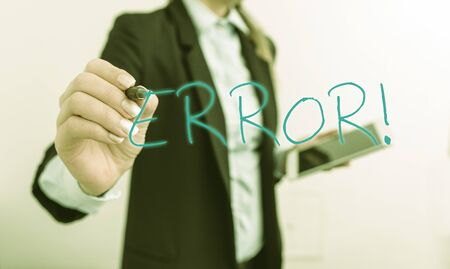 Writing note showing Error. Business concept for state or condition of being wrong in conduct judgement or program Digital business in black suite concept with business woman