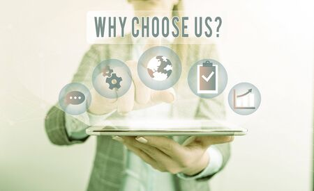 Writing note showing Why Choose Us Question. Business concept for list of advantages and disadvantages to select product service Reklamní fotografie - 131377336