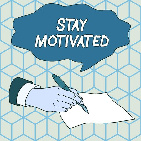 Text sign showing Stay Motivated. Business photo showcasing Reward yourself every time you reach a goal with knowledge Male Hand Formal Suit Holding Ballpoint Pen Blank Piece of Paper Writing 版權商用圖片