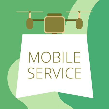 Conceptual hand writing showing Mobile Service. Concept meaning Radio communication utility between mobile and land stations Drone holding downwards banner Geometrical design Stock Photo