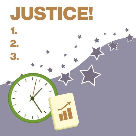 Text sign showing Justice. Business photo text impartial adjustment of conflicting claims or assignments Layout Wall Clock Notepad with Escalating Bar Graph and Arrow Pointing Up